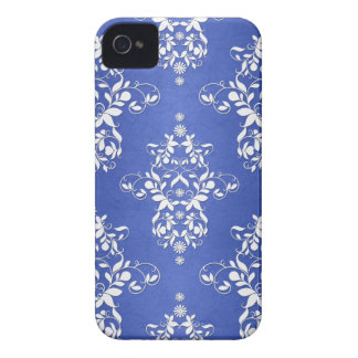 Royal Blue and Silvery White Vintage Damask iPhone 4 Case-Mate Case