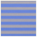 [ Thumbnail: Royal Blue and Tan Colored Striped Pattern Fabric ]