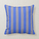 [ Thumbnail: Royal Blue and Tan Colored Striped Pattern Pillow ]