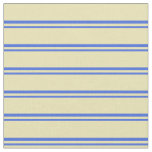 [ Thumbnail: Royal Blue and Tan Colored Stripes/Lines Pattern Fabric ]