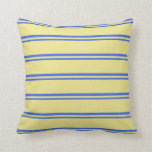 [ Thumbnail: Royal Blue and Tan Colored Stripes/Lines Pattern Throw Pillow ]