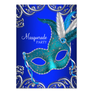 Royal Blue and Teal Blue Masquerade Party Card