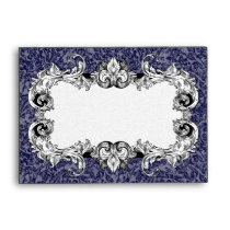 Royal Blue and White A6 Gothic Baroque Envelopes