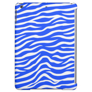 Royal Blue and White Animal Print Zebra Stripes iPad Air Cases