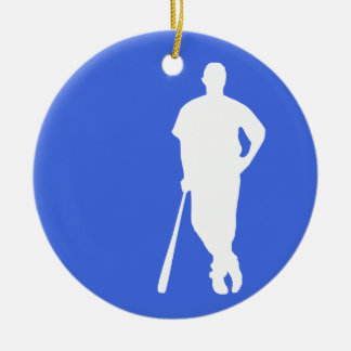 Royal Blue and White Baseball Double-Sided Ceramic Round Christmas Ornament