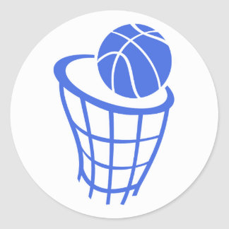 Royal Blue and White Basketball Classic Round Sticker