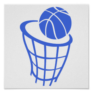 Royal Blue and White Basketball Poster