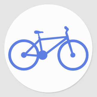 Royal Blue and White Bicycle Classic Round Sticker
