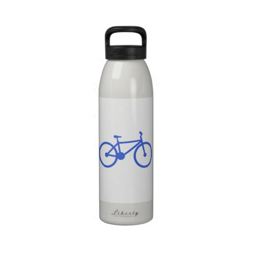 Royal Blue and White Bicycle Reusable Water Bottle