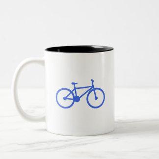 Royal Blue and White Bicycle Two-Tone Coffee Mug