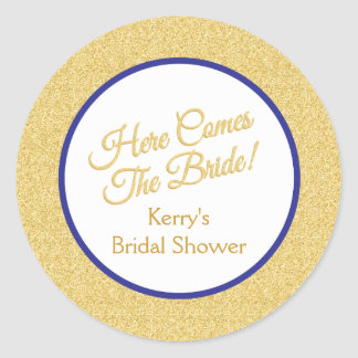 Royal Blue and White Bridal Shower Stickers