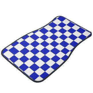 Royal Blue and White Checker Board Pattern Car Mat