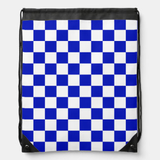 Royal Blue and White Checker Board Pattern Drawstring Bag