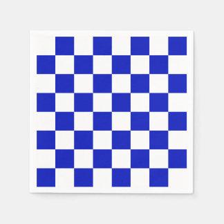 Royal Blue and White Checker Board Pattern Napkin