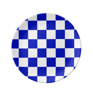 Royal Blue and White Checker Board Pattern Porcelain Plate