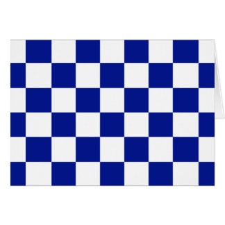 Royal Blue and White Checkered Pattern Card