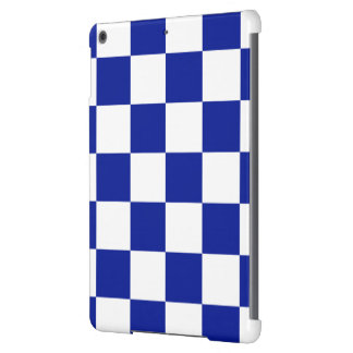 Royal Blue and White Checkered Pattern iPad Air Cover