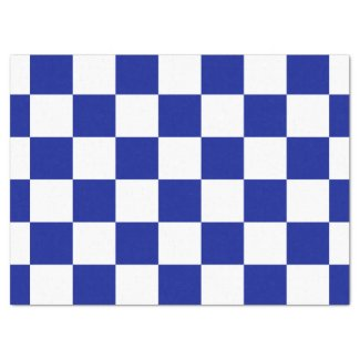 """Royal Blue and White Checkered Pattern 17"""" X 23"""" Tissue Paper"""