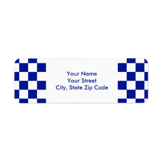 Royal Blue and White Checkered Pattern label
