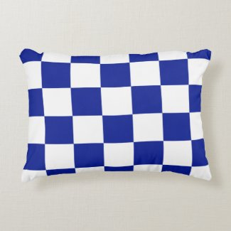 Royal Blue and White Checkered Pattern Accent Pillow