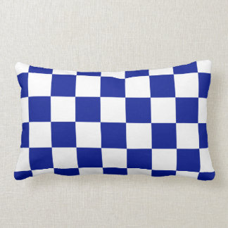 Royal Blue and White Checkered Pattern Throw Pillow