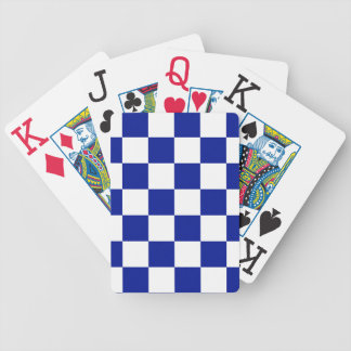 Royal Blue and White Checkered Pattern Bicycle Playing Cards