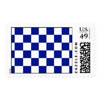 Royal Blue and White Checkered Pattern Postage