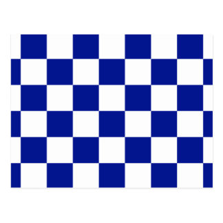 Royal Blue and White Checkered Pattern Postcard