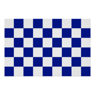 Royal Blue and White Checkered Pattern Poster
