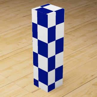 Royal Blue and White Checkered Pattern Wine Bottle Boxes