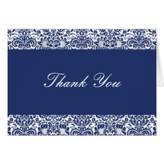Royal Blue and White Damask Thank You Note Card