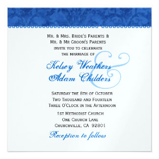 Royal Blue and White Damask Wedding Template Personalized Invitation