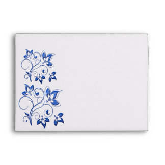 Royal Blue and White Envelope for 5x7 Sizes