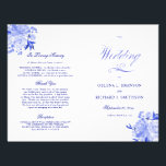 """Royal Blue and White Floral Folded Wedding Program<br><div class=""""desc"""">This program is an 8.5 x 11 page that requires you to fold it to assemble. Blue toned watercolor florals.</div>"""