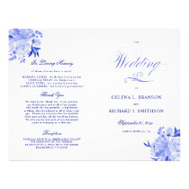 Royal Blue and White Floral Folded Wedding Program