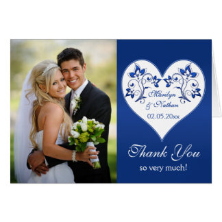 Royal Blue and White Floral Photo Thank You Card Cards