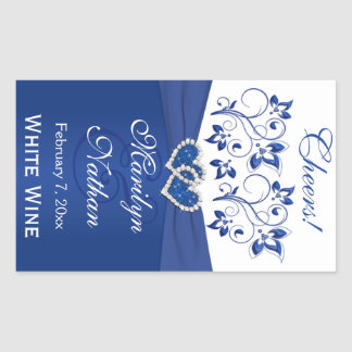 Royal Blue and White Floral Wedding Bottle Sticker