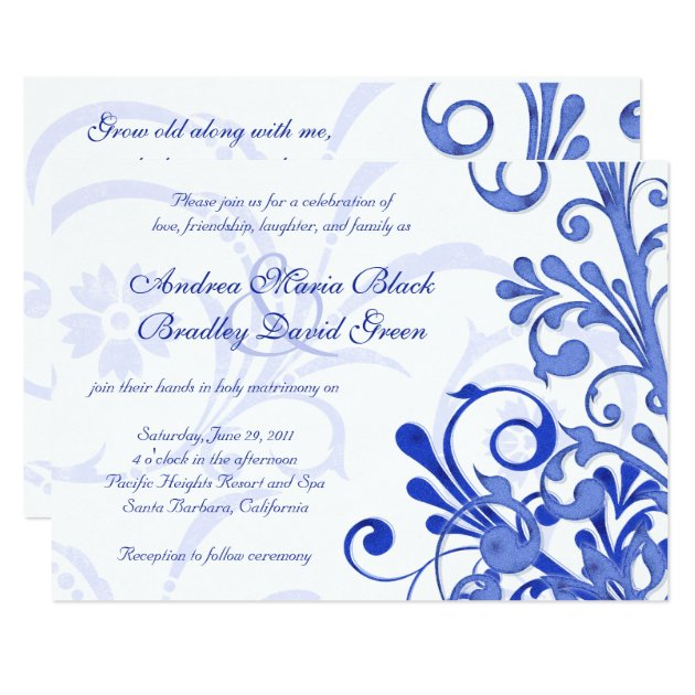 Royal Blue And White Floral Wedding Invitation Zazzle
