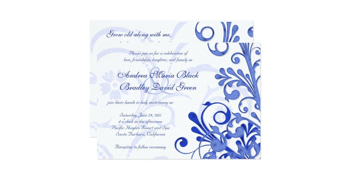Royal Blue And White Floral Wedding Invitation Zazzle