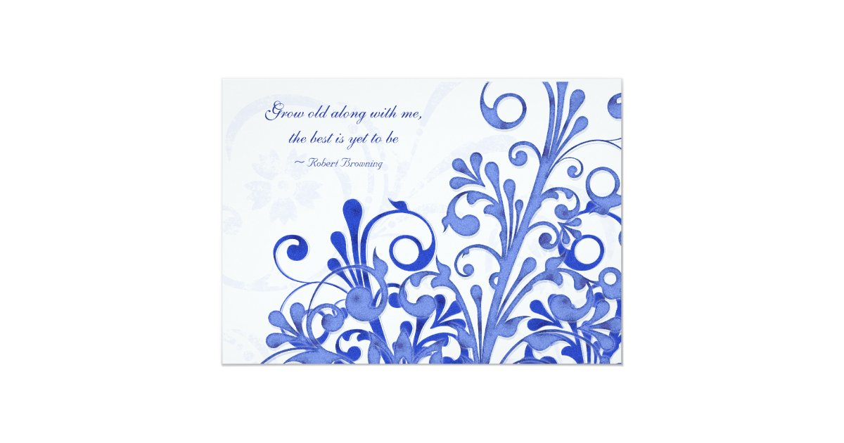 Royal Blue Wedding Invitation Cards: Royal Blue And White Floral Wedding Invitation