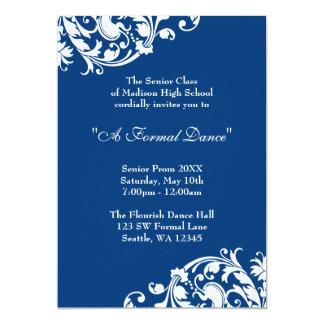 "Royal Blue and White Flourish Swirl Prom Formal 5"" X 7"" Invitation Card"