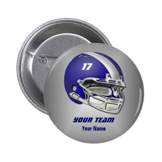Royal Blue and White Football Helmet 2 Inch Round Button