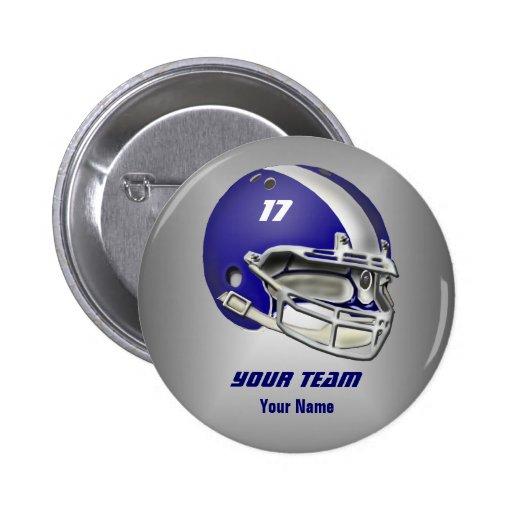 Royal Blue and White Football Helmet Pins