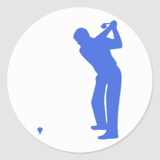 Royal Blue and White Golf Classic Round Sticker