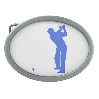 Royal Blue and White Golf Oval Belt Buckle