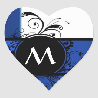 Royal blue and white heart sticker
