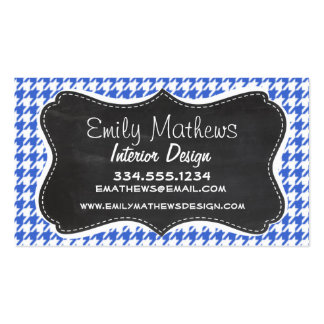 Royal Blue and White Houndstooth; Chalkboard look Business Card