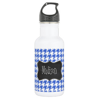 Royal Blue and White Houndstooth; Chalkboard look Stainless Steel Water Bottle