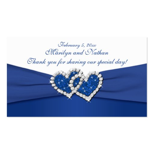 Royal Blue and White Joined Hearts Favor Tag Business Card Template