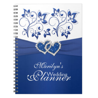 Royal Blue and White Joined Hearts Floral Notebook